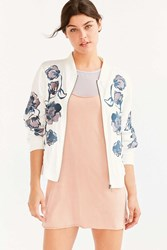 Kimchi And Blue Molly Embroidered Bomber Jacket Cream Multi
