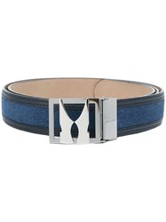 Moreschi Plaque Buckle Belt Leather Suede Blue