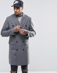 Asos Wool Mix Double Breasted Overcoat In Light Grey Marl Light Grey