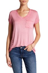 Cable And Gauge Washed V Neck Tee Petite Pink