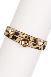 T J Designs Leopard Double Band Crystal And Genuine Horse Hair Bracelet Metallic