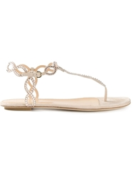 Sergio Rossi Thong Strap Embellished Sandals Nude And Neutrals