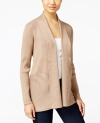 Jm Collection Ribbed Open Front Cardigan Only At Macy's Acorn Heather