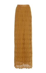 Miguelina Mirabelle Lace Maxi Skirt Gold