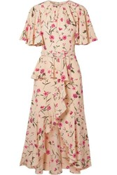 Michael Kors Collection Belted Ruffled Floral Print Silk Crepe De Chine Midi Dress Pink