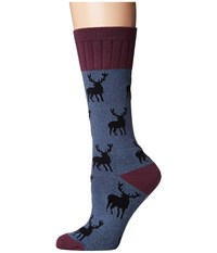 Socksmith Stag Blue Women's Crew Cut Socks Shoes