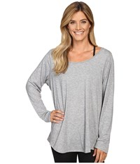 Lucy Extended Long Sleeve Workout Tee Asphalt Heather Women's Workout Gray