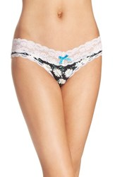 Honeydew Intimates Women's Lace Trim Low Rise Thong Black Daisy