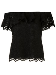 Rebecca Taylor Off The Shoulder Lace Tank Black