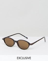 Reclaimed Vintage Round Sunglasses With Brown Lens Black