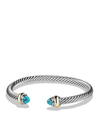 David Yurman Cable Classics Bracelet With Turquoise And 14K Gold Blue Silver