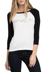Rvca Women's Logo Graphic Baseball Tee