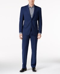 Marc New York By Andrew Men's Classic Fit Blue Mini Check Suit