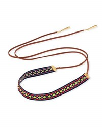 Fragments For Neiman Marcus Woven Wraparound Choker Lariat Necklace Brown Multi