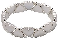 Pilgrim Silver Plated Hearts And Pearls Bracelet N A N A