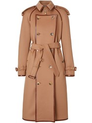 Burberry Button Panel Detail Wool Cashmere Trench Coat Brown