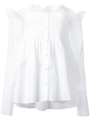 Victoria Beckham Frill Trim Off Shoulder Shirt White