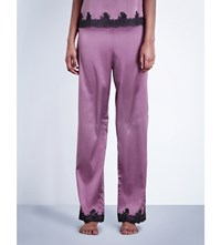 Myla Heritage Silk Stretch Silk Satin Pyjama Bottoms Mauve Slate