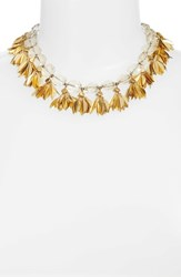Serefina Crystal And Leaf Statement Necklace Champagne