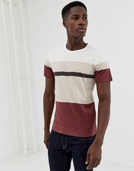 Selected Homme T Shirt With Block Panel Stripes Red