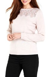 Wallis Women's Lace Yoke Pullover Pale Pink