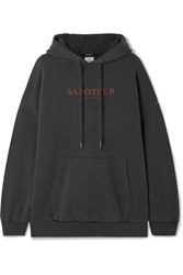 Ksubi Saboteur Printed Oversized Cotton Terry Hoodie Charcoal