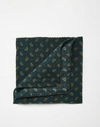 Noose And Monkey Paisley Wool Pocket Square Green
