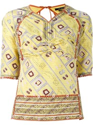 Isabel Marant Printed Backless Top Yellow And Orange