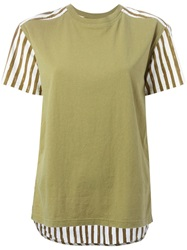 Marc By Marc Jacobs Striped Pleated Back T Shirt Green
