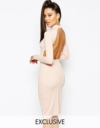 Naanaa High Neck Midi Bodycon Dress With Open Back Pink