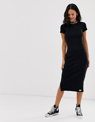 Superdry T Shirt Dress With Neck Logo Detail Black