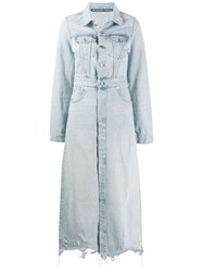 Alexander Wang Long Length Denim Coat Blue