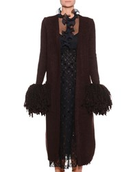 Bottega Veneta Open Front Wool Blend Knit Cardigan W Pompom Cuffs Brown