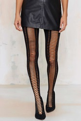 Nasty Gal Piece Of Opaque Lace Up Tights