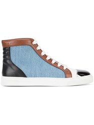 Louis Leeman Contrast Lace Up Hi Tops Men Cotton Calf Leather Rubber 42 Blue