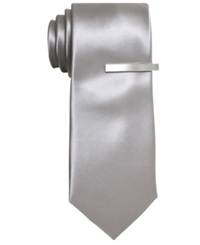 Alfani Red Extra Long Solid Skinny Tie Silver