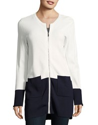 Calvin Klein Colorblocked Zip Front Cardigan Soft White Twilight