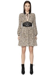 Just Cavalli Leopard Print Silk Crepe De Chine Dress