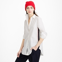 J.Crew Petite Sequin Side Stripe Shirt In White