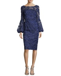 David Meister Sequin Lace Bell Sleeve Dress Blue