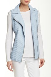 Love Token Quilted Faux Leather Vest Blue
