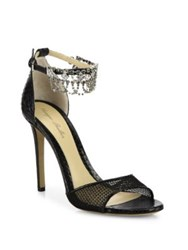 Monique Lhuillier Evelyn Jeweled Snakeskin And Mesh Sandals Noir