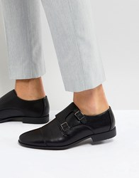 Asos Monk Shoes In Black Faux Leather With Emboss Panel Black