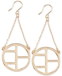 French Connection Gold Tone Cut Out Earrings