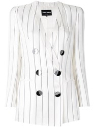 Giorgio Armani Double Breasted Blazer White