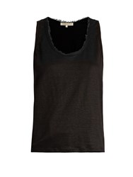 Vanessa Bruno Early Scoop Neck Linen Jersey Tank Top Black