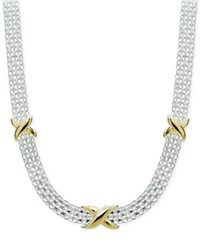 Giani Bernini Two Tone Decorated Bismark Link Necklace In Sterling Silver And Gold Plate Created For Macy's Two Tone