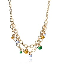 Rebecca Hollywood Stone Yellow Gold Over Bronze Chains Necklace W Hidrothermal Stones Multicolor