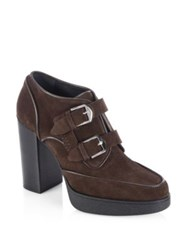 Tod's Double Monk Suede Boots Dark Brown