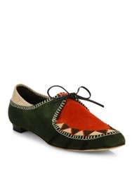 Manolo Blahnik Eskima Colorblock Suede Moccasin Loafers Green Multi